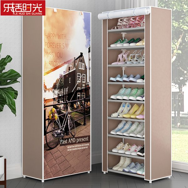 Simple 10 Tier 9 Grids Shoe Rack Dust-proof Oxford Cloth Shoes Ark Easily Assembled Storage Cabinet for Home