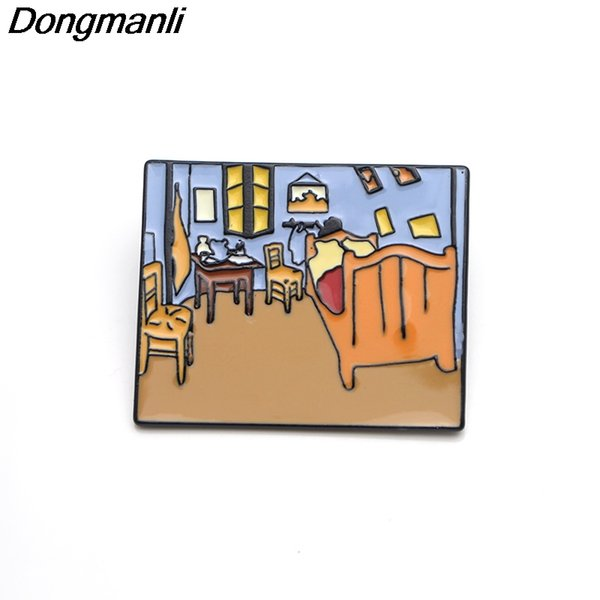 P3637 Wholesale 20pcs/lot Van Gogh's Bedroom Oil Painting Art Metal Enamel Pins and Brooches Jewelry Lapel Pin Badge Kids Gifts