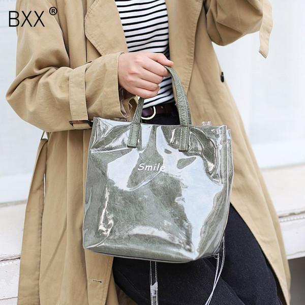 [BXX] 2019 New Arrival Women's Single Shoulder Croobody Bag All-match Kraft Paper Handbag Pvc Transparent Waterproof Bag HE632