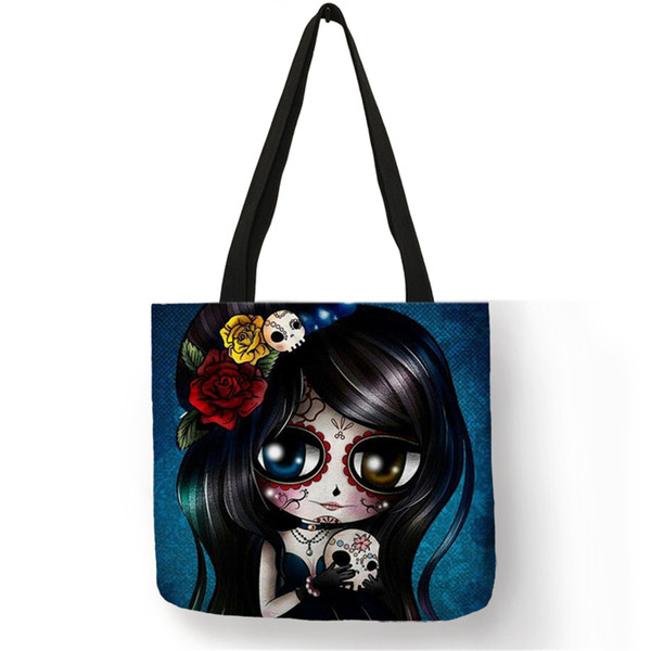 Unique Sugar Skull Print Tote Bags For Women Traveling Shopping Bags Lady Printed Handbags Dropshipping