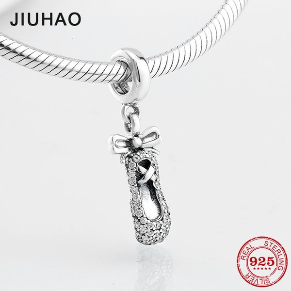 2018 Love dancing BOW Ballet shoes beads charm 925 Sterling Silver CZ pendant Fit Original Pandora DIY Bracelet Jewelry Making