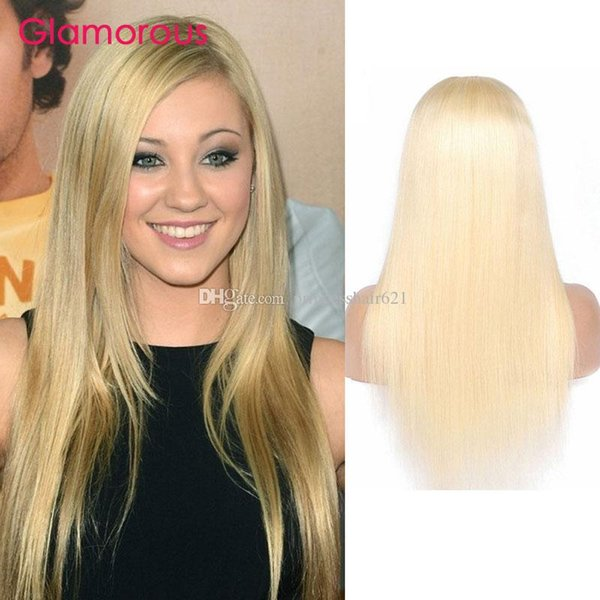 Glamorous #613 Blonde Human Hair Wigs Peruvian Indian Malaysian Brazilian Straight Body Wave Hair Wigs 12-24Inch Blonde Hair Full Lace Wig