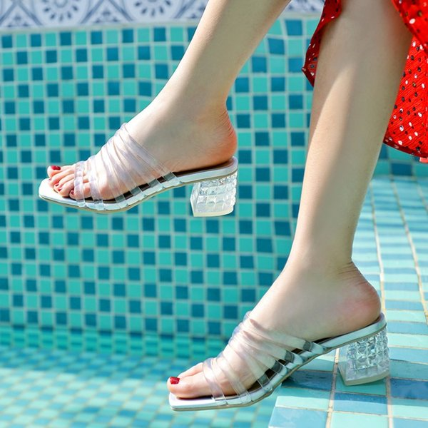 MLJUESE 2019 women slippers Soft Rome style summer open toe transparent color beaches sandals party wedding dress size 34-43
