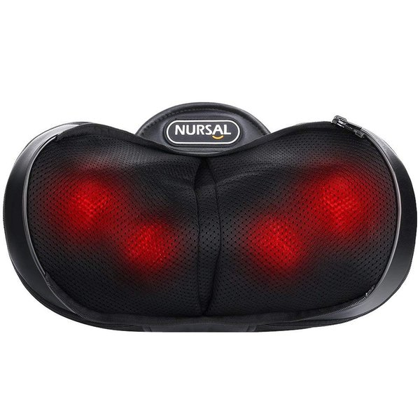 NURSAL Shiatsu Neck Pillow Massager - 3D Deep Kneading Massage Pillow with Heat Spa Therapy & Warm Hand Bag for Neck, Shoulder and Back Fati