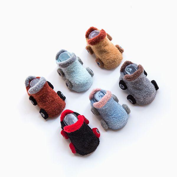 Carro dos desenhos animados Do Bebê Recém-nascido Meias Anti Slip Macio Sola Meias Para Meninas Meninos Unisex Criança Outono Inverno Meias Piso