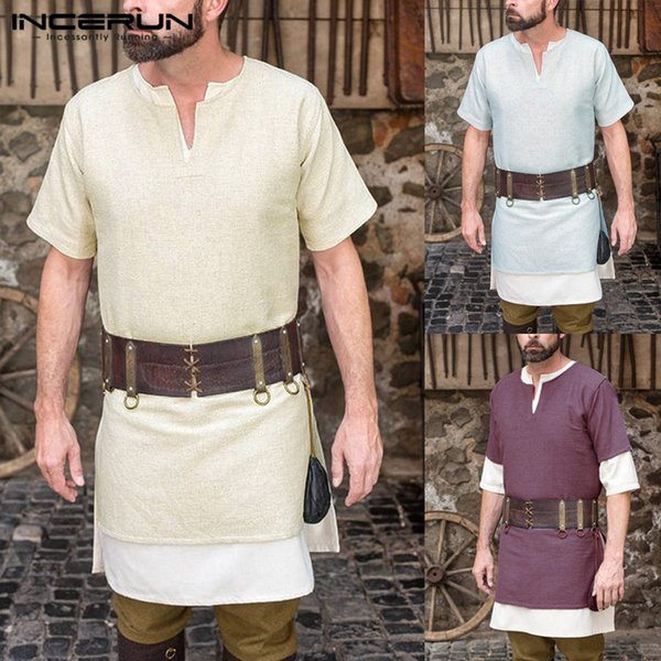 2019 NEW Tunic Tops Men Shirt Short Sleeve V Neck Archer Warrior Knight Medieval Renaissance Robe Costumes Cosplay Male