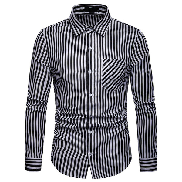 Brand Long Sleeve Casual Shirts 2019 Korean Fashion Small Stripe Shirt Men High Street Cotton Pocket Men Clothing Plus Size