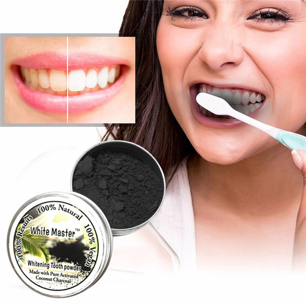best selling 100% Natural Teeth Whitening Powder White Master Tooth Natural Organic Activated Charcoal Bamboo Toothpaste Tooth Powder 6pcs