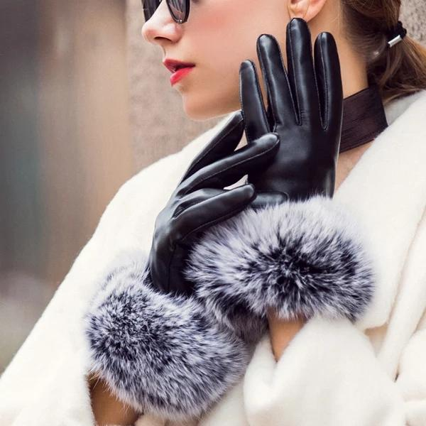 Elegant atmosphere european-american wind lady autumn and winter leather gloves with velvety rabbit fur mouth warm gloves