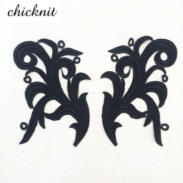 CHICKNIT 1 Paare weiß schwarz Stickereiblume SpitzeApplique Patch für Nähen Cosplay Tango Latin Tanzballett Kostüme Kleid