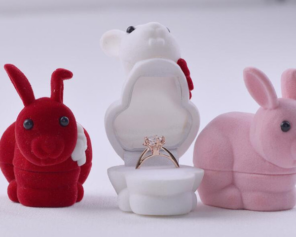 50pcs/lot Lovely Velvet Bunny Ring Box Rabbit Ring Earrings Jewelry Boxes Storage Case Gift Box Jewelry Packaging Display Rack