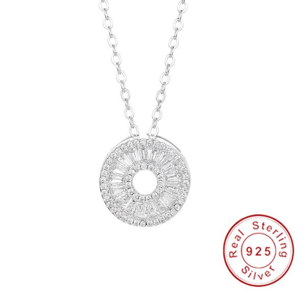 Brand Round Pendants 5A Zircon Cz Real 925 Sterling silver Wedding Pendant with Necklace for women Bridal jewelry girl gift