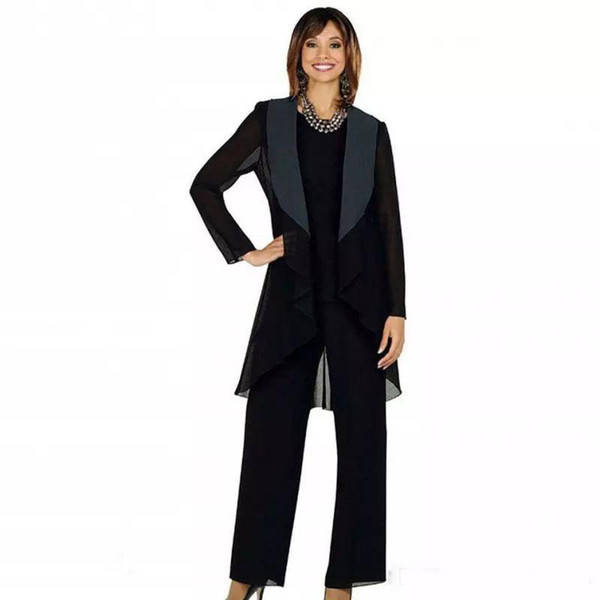 2019 Classy Black Chiffon Mother Of The Bride Pant Suits Three Pieces Wedding Guest Dress Plus Size Cheap Mothers Groom Dresses