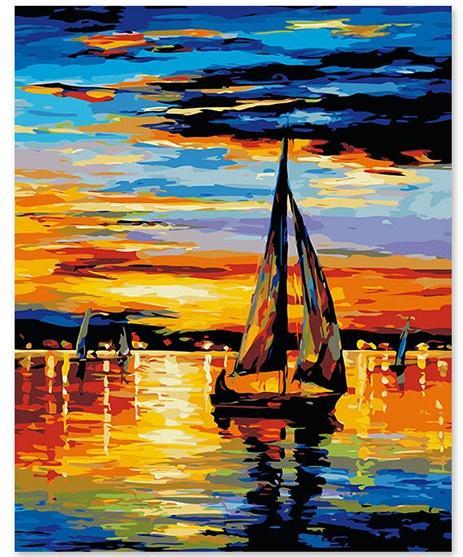 Compre Pintura Al óleo De Diy Por Números Kits Para Colorear Dibujo Lienzo Puesta Del Sol Marino Barcos De Pesca Fotos Decoración Para El Hogar