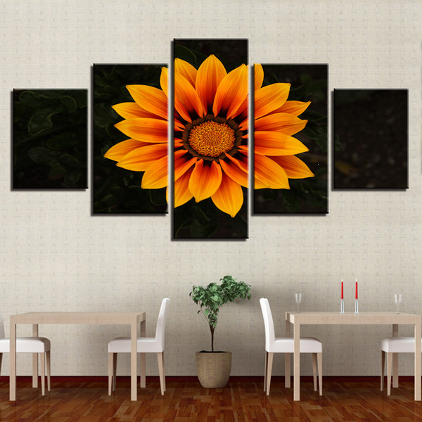 Canvas HD Prints Pictures Wall Art 5 Pieces Orange Daisy Flowers Paintings Dimorphotheca Poster Living Room Decor Modular Framed