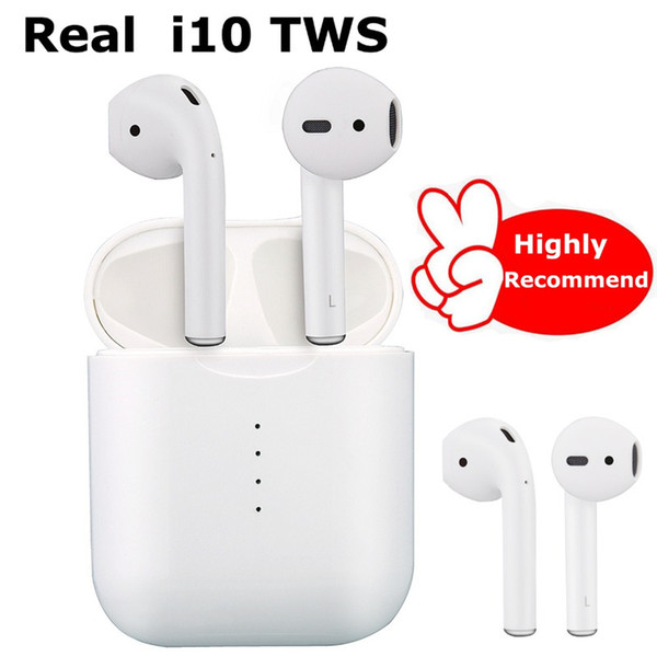 Original Factory! i10 Bluetooth headset TWS sports wireless touch stereo with charging box earbuds for iPhone android smartphone