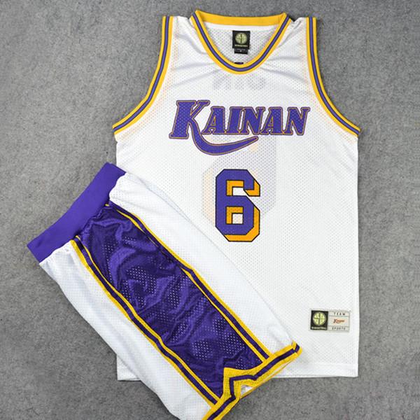 Slam Dunk Kainan High School Basketball Team No.6 Jin Soichiro Cosplay Jersey Sets Top Sport Vest & Shorts