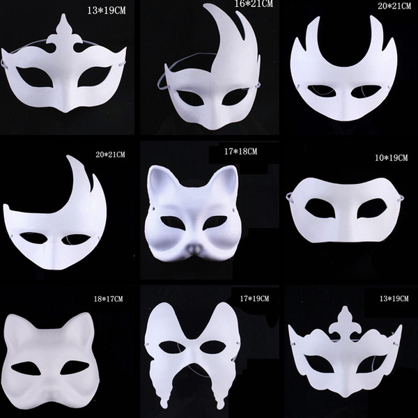 Makeup Dance White Masks Embryo Mould Painting Handmade Mask Pulp Festival Crown Halloween White Face Mask TTA1542