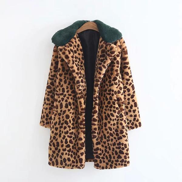 b01ca75af2ca Jacket Womens Women Warm Coat Leopard Print Lamb Cashmere Lapel Jacket  Cardigan winter coat women abrigos mujer invierno 2018