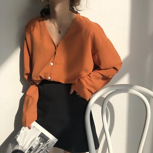Chic Vintage Frauen Bluse Mode Einreiher V-Ausschnitt Tops Sommer Herbst Langarm Lose Damen Shirt Streetwear Blusas