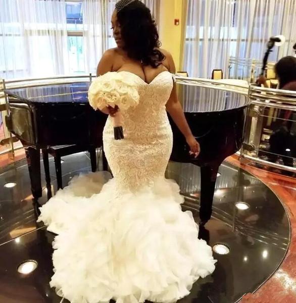 best selling African Plus Size Wedding Dresses Sweetheart Ruffles Mermaid Wedding Dress Lace Up Back Tulle Lace Appliques Dubai Arabic Vestidos