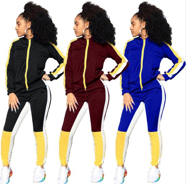 top popular Brand Designer women jacket leggings tracksuit Embroidery coat pant 2 piece set outfits clothes sweatsuit outerwear tights sportswear 888 2019