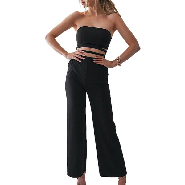 Women Office Jumpsuits Fashion Lady Slouchy Neckline Romper Off The Shoulder High Cut Lacing Up Solid Bodysuits Ladies Clothing