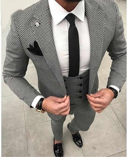 Casual Plaid Mens Costumes De Mariage Pour Hommes 3Pieces (Veste + Pantalon + Gilet) Hommes Blazers Costumes De Soirée Groom Tuxedo Terno Masculino Blazer