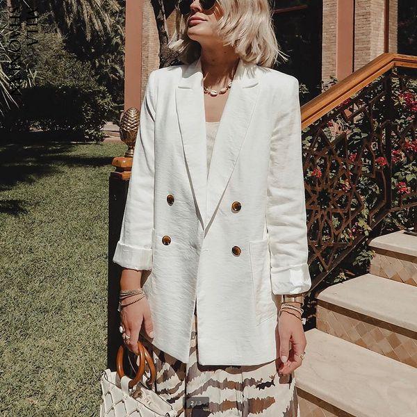 Wotwoy Double Breasted White Black Blazer Female Long Sleeve Office Ladies Blazer 2019 Autumn Jacket Women Outerwear Suit Coats Y190827