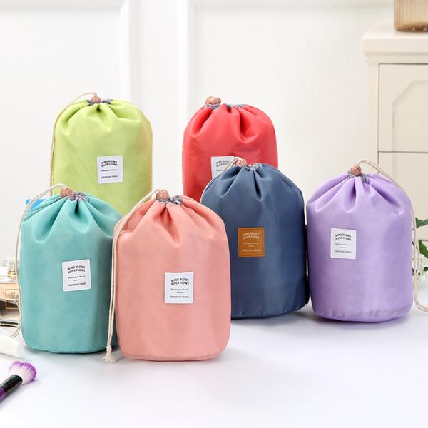New Arrival Barrel Shaped Travel Cosmetic Bag Nylon Polyester High Capacity Drawstring Elegant Drum Wash Bags Makeup Organizer Storage Bags