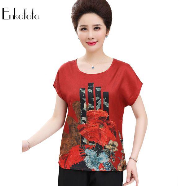 2019 Summer Ladies Tops Pure Silk Shirts Blouses Women Print Batwing Short Sleeve Femininas Camisas Clothing Female Plus Size