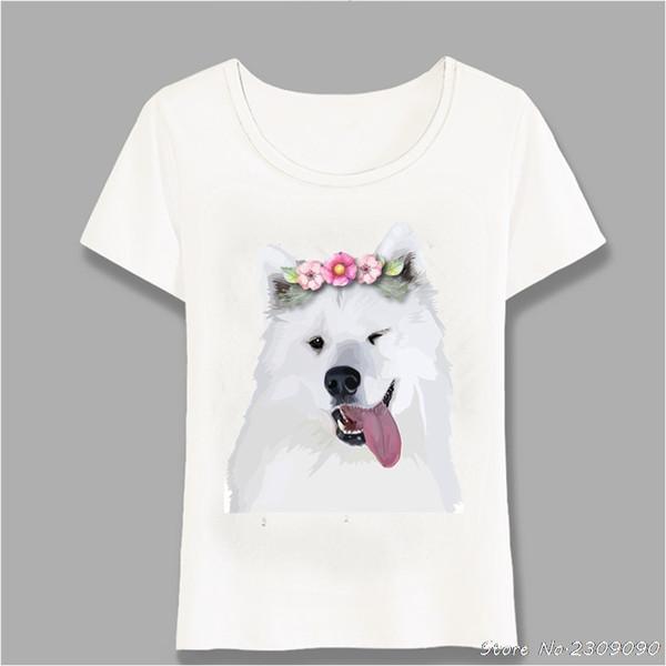 New Pretty Samoyed Dog Design Women T-Shirt Dog Elegant Sketch Female T Shirt Summer Casual Tops Fun Cute Girl Tees Harajuku