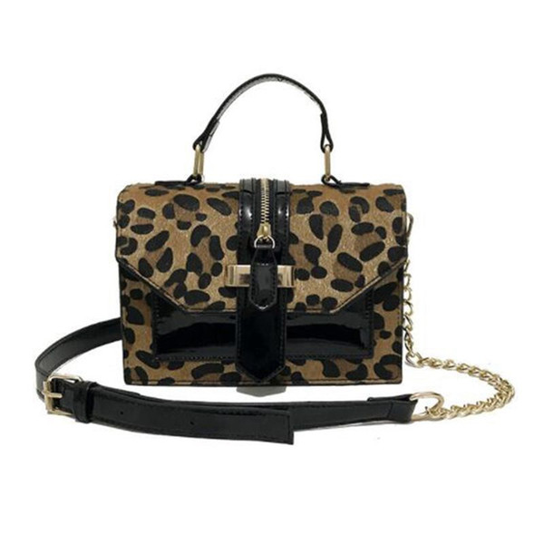 Bolsos de bandolera de leopardo para mujeres con cremallera decoración para mujer Bolsos y monederos de charol Bolso pequeño de hombro