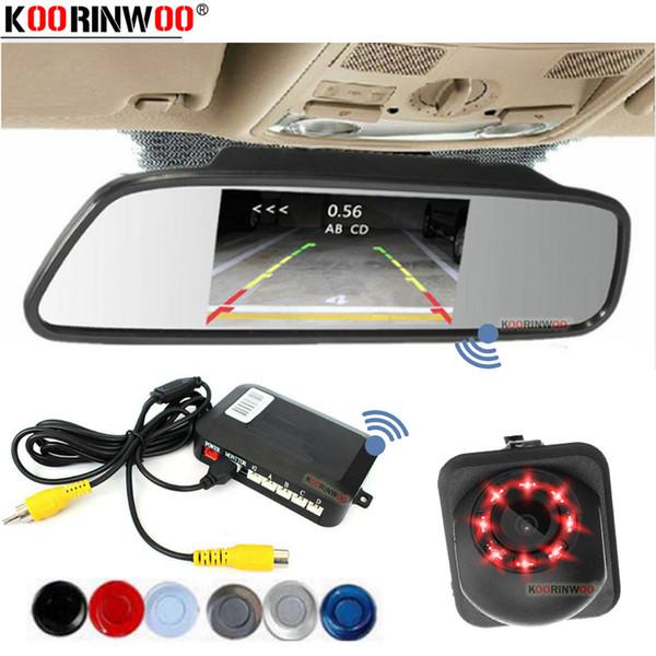 Koorinwoo Sensores de Estacionamento 4.3 / 5 Monitor Espelho Parkmaster sensor reverso Buzzer Speaker Com Câmera de Visão Noturna Backlight