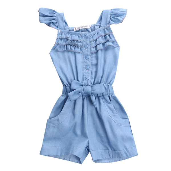 Children Toddler Kids Girl Clothing Rompers Denim Blue Cotton Washed Jeans Casual Sleeveless Bow jumpsuit Romper Clothing Girls Children Toddler Kids Girl Clothing Rompers Denim Blue Cotton Washed Jeans Casual Sleeveless Bow jumpsuit Romper Clothing Girls