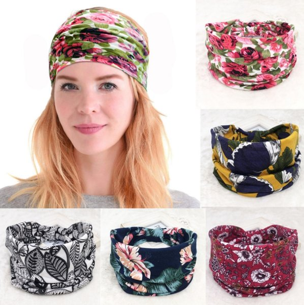 best selling Designer Headband Ethnic Floral Hair Band Printed Width Head Bands Retro Sports Yoga Bandanas Hair Accessories 45 Designs Optional YW4028