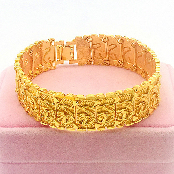 Hip Hop Mens Bracelet Cool Wrist Chain 18k Yellow Gold Filled Classic Mens Solid Jewelry With Dragon Patterned Gift