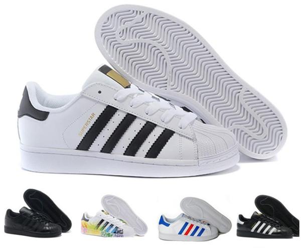 2018 Casual Originals Superstar White Hologram Iridescent Junior Superstars 80s Pride Sneakers Super Star Women Men Sport Casual Shoes 36-45
