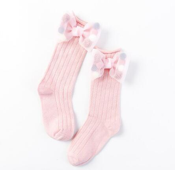 5paris/10pcs Cute Children Socks With Bows Toddlers Girls Knee High Socks Cotton Long Boot Socks For Kids One Pair Infant Baby Leg Warmer