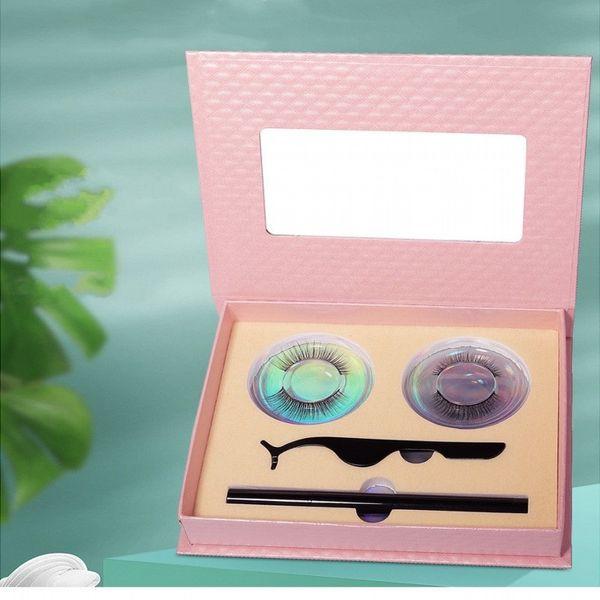 best selling Gift Box 2 Pairs False Eyelashes Magic self adhesive Eyeliner Pen Tweezer 3 in 1 Set Waterproof Long Lasting Eyelash Extension