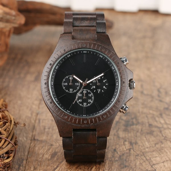 Retro de madera de los hombres relojes reloj hombre engranaje cubierta de primeras marcas de lujo con estilo cronógrafo relojes relojes Relogio masculino