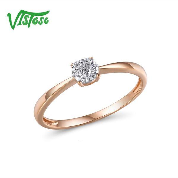 Vistoso pur 14K 585 avec de l'or rose Bague mousseux diamant rond délicat pour les femmes anniversaire engagement à la mode haute joaillerie CJ191205