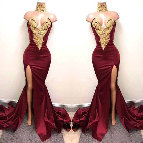 Borgonha Especial Ocasião Vestidos Com Laço de Ouro Appliqued Frente Sereia Dividir para 2K19 Festa de Formatura Vestidos de Noite Vestidos