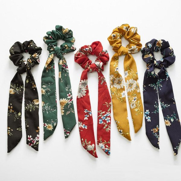INS 5 colors Vintage Hair Scrunchies Bow Women Accessories Hair Bands Ties Scrunchie Ponytail Holder Rubber Rope Decoration Big Long Bow