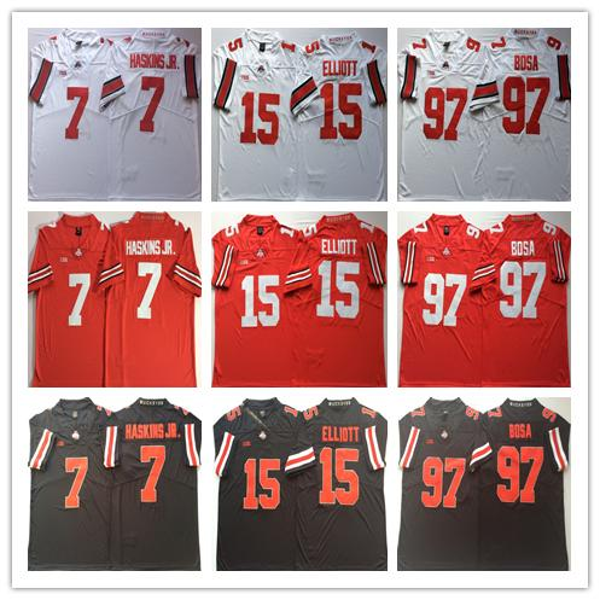 NCAA Herren Ohio State Buckeyes College Trikots 7 HASKINS JR 15 Ezekiel Elliott 97 Joey Bosa Männer Fußballtrikots von guter Qualität