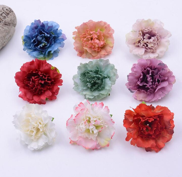 best selling Artificial Flowers Christmas party Fashion Wedding Silk Artificial Carnation Flowers HEAD Home Ornament Decoration for monther day gift