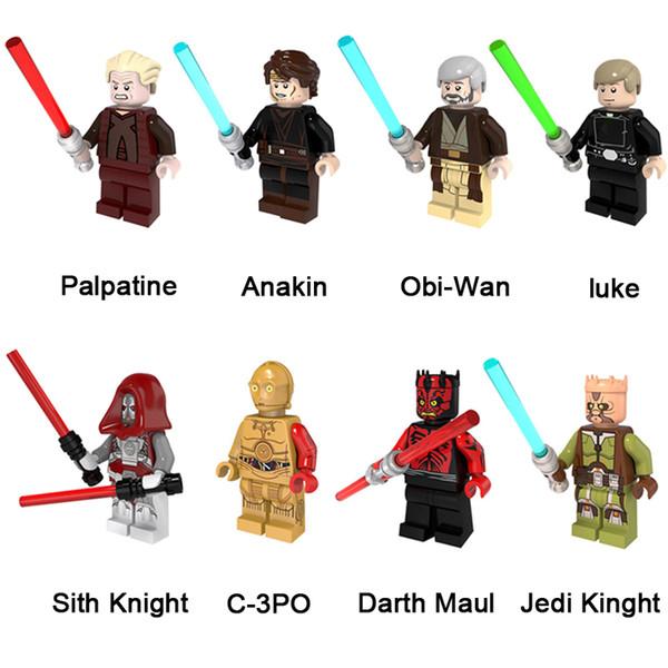 Toy Building Blocks Space War Palpatine Anakin Obi-Wan Luca Sith cavaliere C-3PO Darth Maul Cavaliere Jedi Mini Action Figure