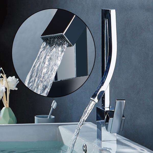 Luxury Chrome Black Nickel Orange Brass Bathroom Square Basin Faucet Sink Mixer Tap Deck Mounted Hot&Cold Sink MixerTap torneira