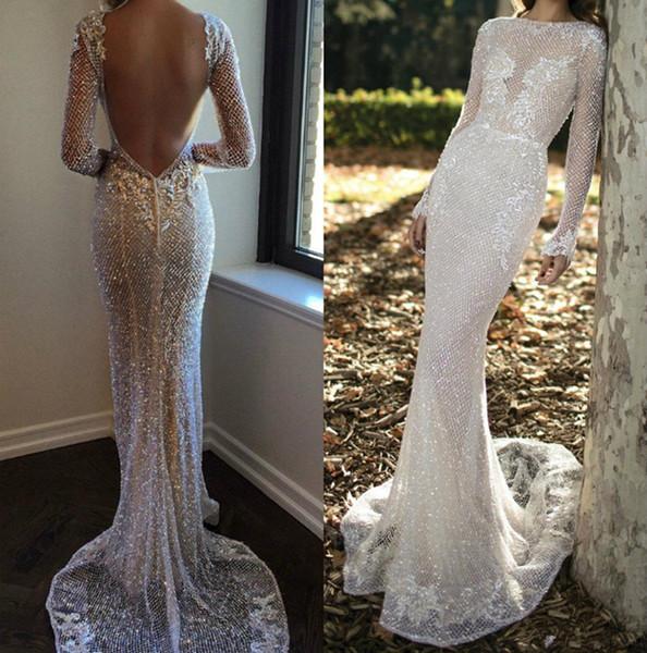 Luxury Berta Bling Wedding Dresses Sheath Bateau Neck Long Sleeve Bridal Gowns Fishnet Lace Mermaid Wedding Dress Crystals Custom Made 3964