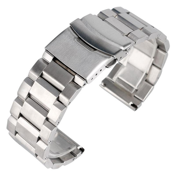 Wholesale- High Quality Silver Bracelet Solid Stainless Steel Watch Band 18mm 20mm 22mm 24mm Adjustable Strap Metal Watchband Mens Womens